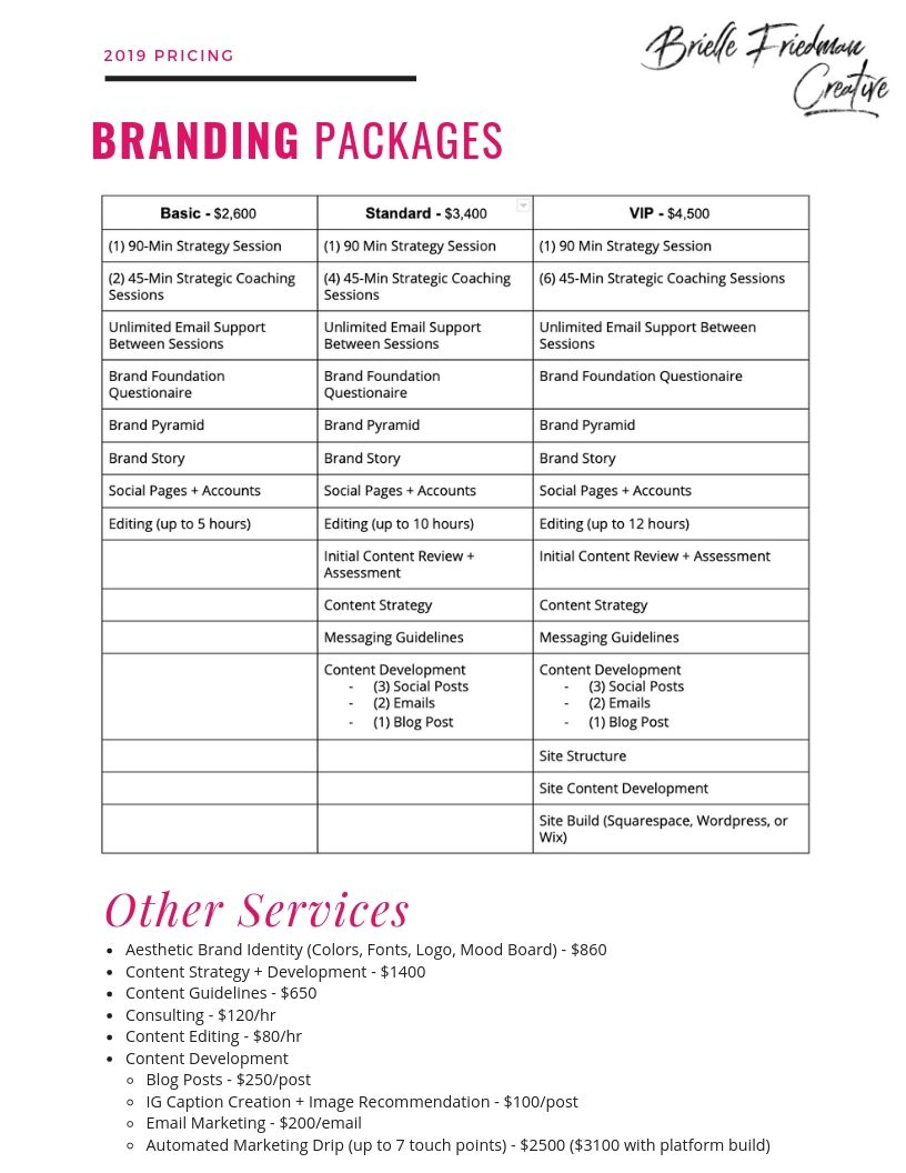 Branding Packages + Other Services